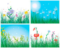 Color set of grass backgrounds Stock Photos