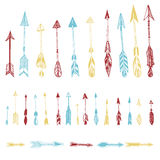 Color set of hand drawn, vector arrows. Ethnic Indian arrow Royalty Free Stock Images