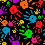 Color set of hands on black background vector. Color set of human hands, the hands, the imprint of fingers on seamless background, seamless pattern, print fabric Royalty Free Stock Photo