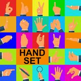 Color set hands in different gestures. Collection emotions, signs. Magnifying glass, pen in hand, gestures arm: palm thumbs up, finger pointer, like. Vector Stock Photo