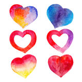 The color set of hearts for Valentines day isolated on white background, watercolor illustration. In hand-drawn style Vector Illustration