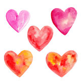 The color set of hearts for Valentines day isolated on white background, watercolor illustration. In hand-drawn style Royalty Free Illustration