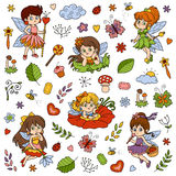 Color set about little fairies, cartoon collection Royalty Free Stock Photo