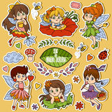 Color set about little fairies, cartoon collection Stock Images