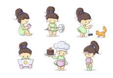 Color set little girls Royalty Free Stock Image