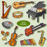 Color set with musical instruments, vector cartoon stickers Royalty Free Stock Images