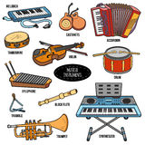 Color set with musical instruments, vector cartoon stickers Royalty Free Stock Photos