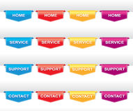 Color set of navigation labels Stock Images