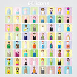Color set of people icons .64 icons.children and adultsvector illustration Royalty Free Stock Image