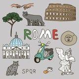 Color set of Rome symbols Stock Photos