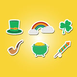 Color set with saint patricks day icons Stock Photos