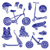 Color set of silhouettes of sporting goods for kids. Vector vector illustration