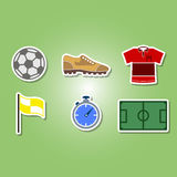 Color set with soccer icons Royalty Free Stock Photos