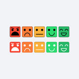 Color set square icon of Emoticons. Rank, level satisfaction rating Stock Photos