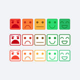 Color set square icon of Emoticons. Rank, level satisfaction rating Stock Photography