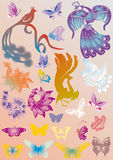 Color set of stylized birds and butterflies Royalty Free Stock Photos