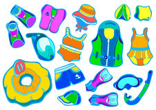 Color set with swimming goods for children on white background . Vector illustration Royalty Free Stock Images