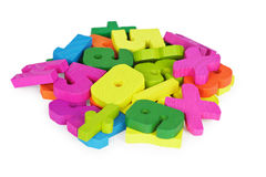 Color set of toys for training to mathematician Royalty Free Stock Photo