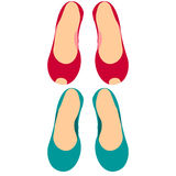Color set of two pairs of women`s shoes without heels Stock Photos