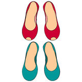 Color set of two pairs of women`s shoes without heels 2 Royalty Free Stock Photo