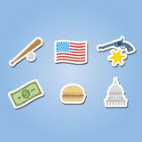 Color set with usa icons Stock Photos