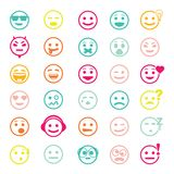 Color set of vector icons with smiley faces Royalty Free Stock Photos