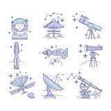 Color Set of vector space icon Stock Image