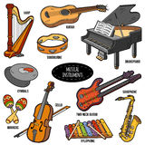 Color Set With Musical Instruments, Vector Cartoon Stickers Royalty Free Stock Image