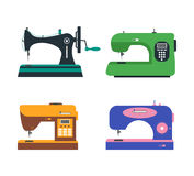 Color Sewing Machine Set. Retro and Modern. Vector Royalty Free Stock Photo