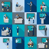 Color Shadows  Teacher  Icons  Set Royalty Free Stock Images