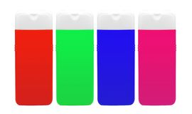 Color shampoo bottles isolated on white Stock Images