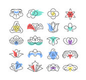 Color shapes and line geometrical flowers. Floral design elements, set of symbols, signs, logos vector illustration