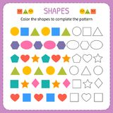 Color the shapes to complete the pattern. Learn shapes and geometric figures. Preschool or kindergarten worksheet. Vector illustration Stock Image