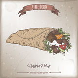 Color shawarma sketch on grunge background. Royalty Free Stock Photos