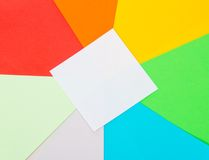 Color sheets of paper and white card Stock Photo