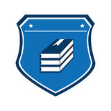 Color shield with stacking books Royalty Free Stock Photography