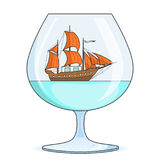 Color ship with orange sails in glass. Souvenir with sailboat for trip, tourism, travel agency, hotels, vacation card Stock Photo