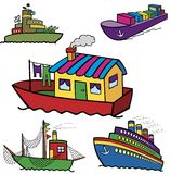 Color ships collection Royalty Free Stock Photo