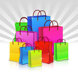 Color shopping bags. Discount concept. Vector illustration Royalty Free Stock Image