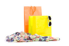 Color shopping bags on white Stock Photos