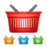 Color Shopping Baskets. Collection of red, yellow, blue an green shopping baskets on white background Royalty Free Stock Images