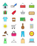 Color shopping icons set. Set of 24 color shopping icons Royalty Free Stock Photos