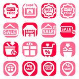 Color shopping icons Stock Photography