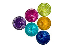 Color Shots. A collection of shot's in different colors on white background Royalty Free Stock Images