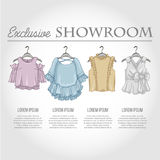 Color showroom set of woman casual clothes Royalty Free Stock Image