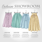 Color showroom set of woman casual clothes Stock Photo