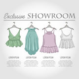 Color showroom set of woman casual clothes Stock Photos