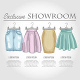 Color showroom set of woman casual clothes Royalty Free Stock Photography
