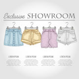 Color showroom set of woman casual clothes Stock Image