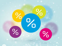Color sign discount sale snow blue background Royalty Free Stock Images